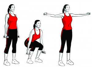 dumbbell squat to lateral raise